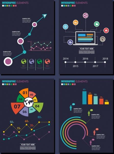 infographic template sets modern dark design