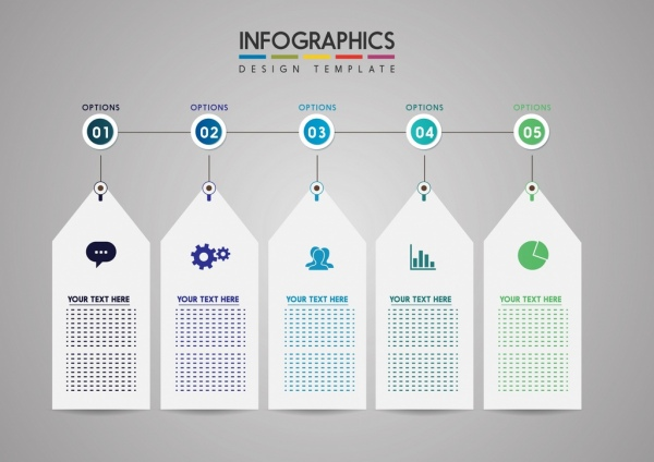 infographic template white tags user interface icons ornament