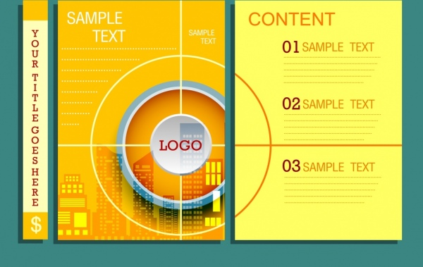 infographic template yellow background round target decoration