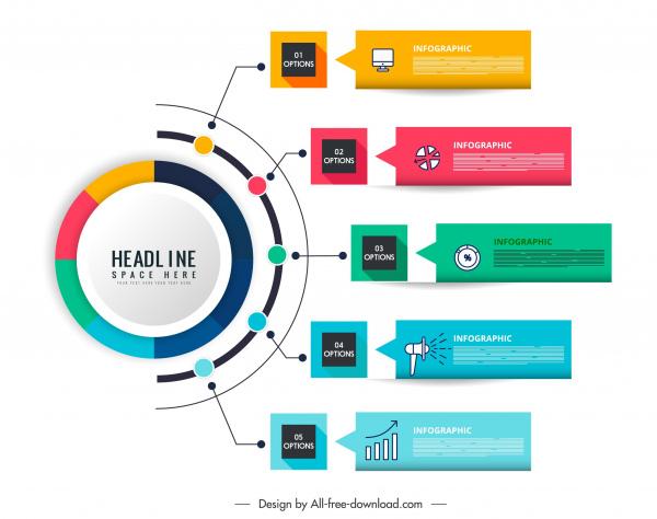 infographic templates colorful modern flat geometric design