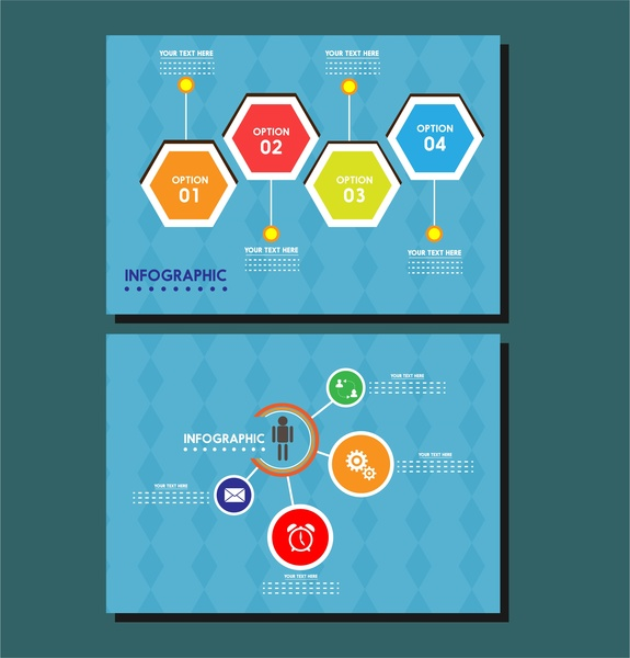 infographic templates design isolated geometries on blue background
