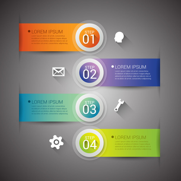 infographic vector design with circles and horizontal banners