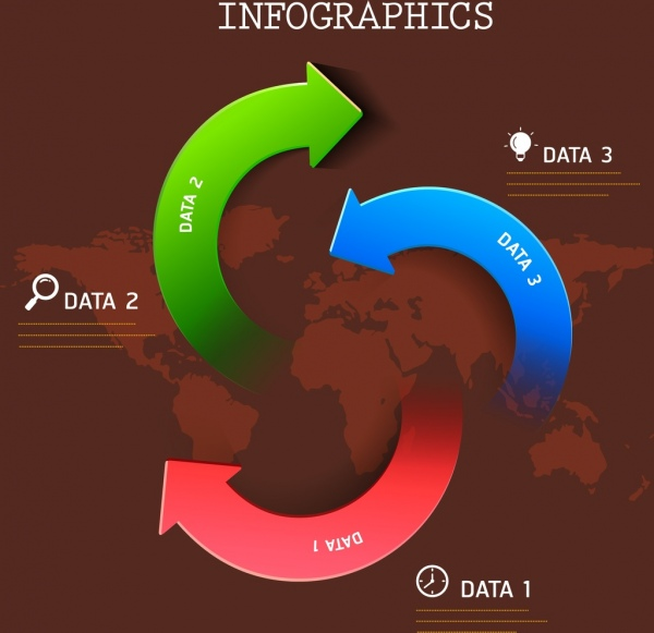 infographice template swirl arrows decoration continental backdrop