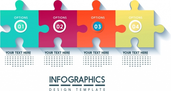 infographics design template colorful puzzle joints icons decor