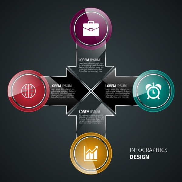 infographics template shiny colored circles dark arrows design