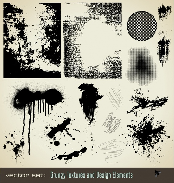 grungy design elements black white splattered ink decor