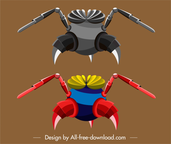insect robot template shiny colored modern 3d sketch