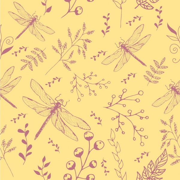 insects background flowers dragonfly icon repeating colored sketch