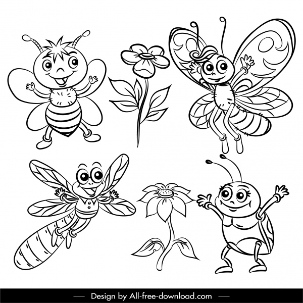 insects world icons black white cartoon sketch