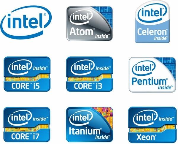 Intel Chip Logos Vector
