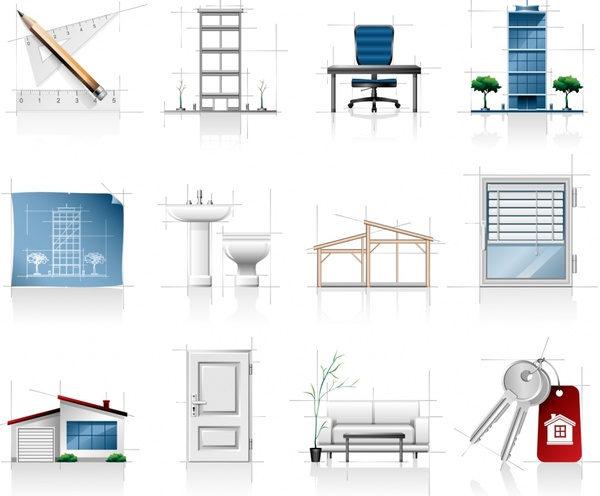 architecture work design elements modern tools objects drawing sketch