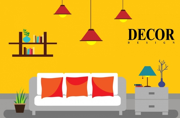Interior Decor Background Colored Furniture Icons Free Vector In