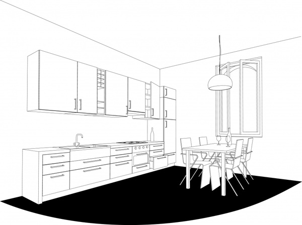 Interior line art drawing vector Free vector in Encapsulated PostScript eps  .eps  vector