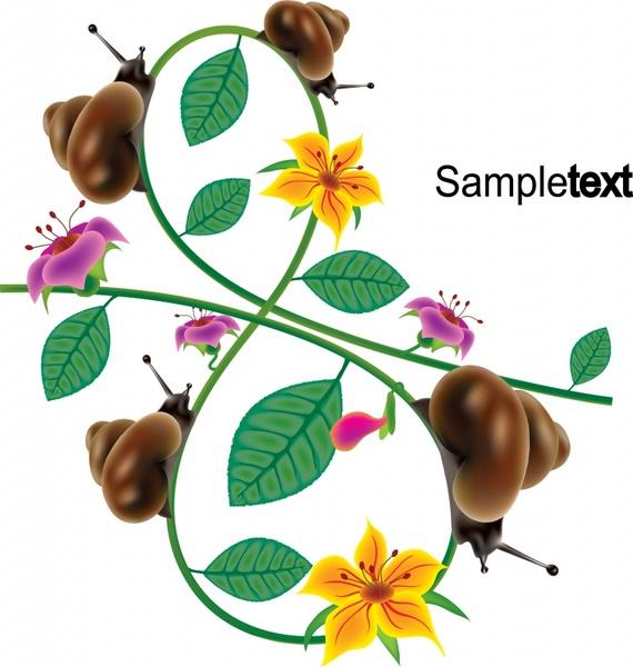 nature background snails floral leaves decor modern design