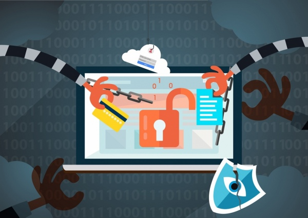 internet crime concept background thief hands lock icons