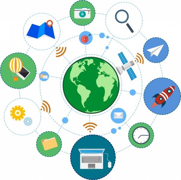 internet design elements communication symbols circles isolation