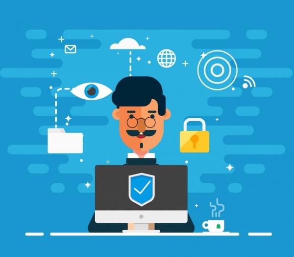 internet security background businessman laptop security elements