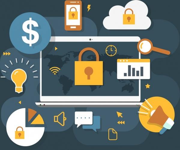 internet security background laptop ui icons decor