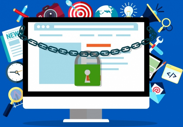 Internet security banner computer lock chain icons free - Commercial wallpaper pasting machine ...