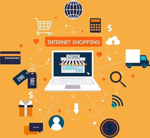 internet shopping concept banner laptop trading symbols icons
