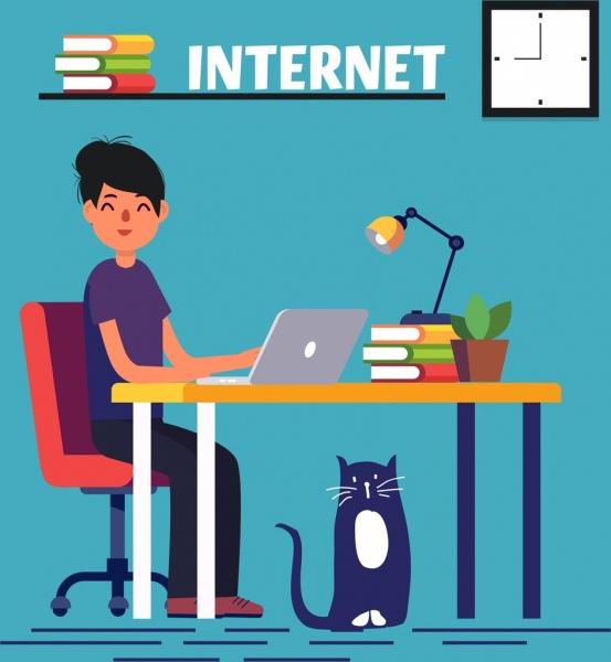 internet work drawing woman laptop desk icons