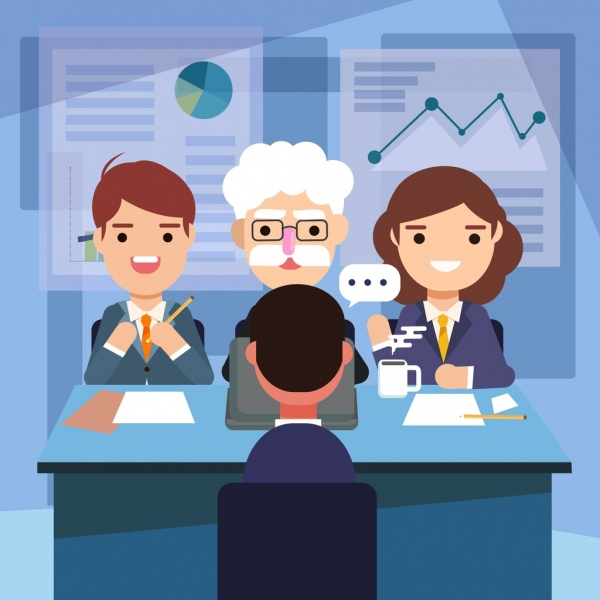 interview background interviewers candidate icons cartoon characters
