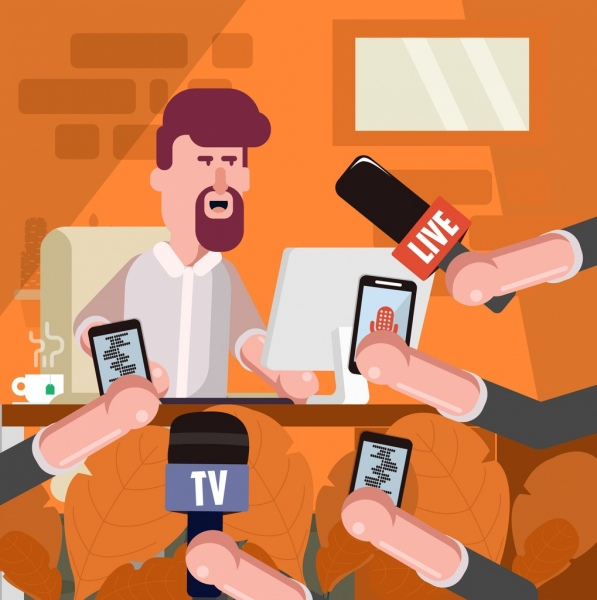 interview background man microphone hands icons cartoon characters