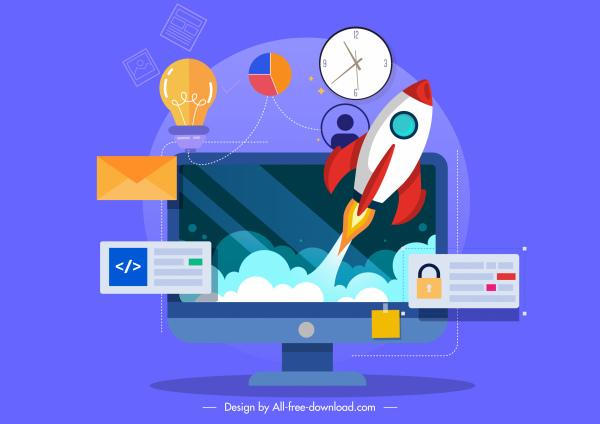 invention conceptual background computer spaceship work elements sketch