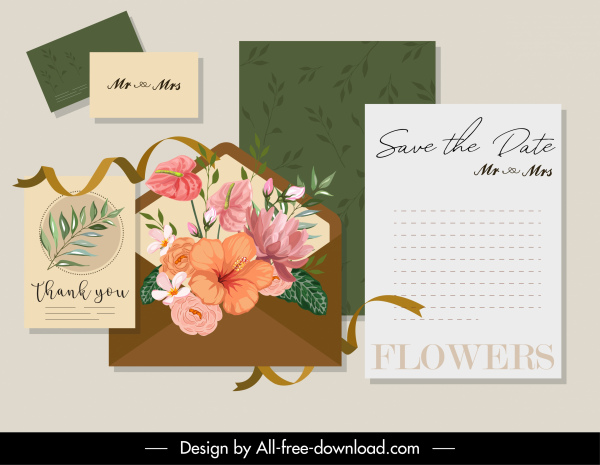 invitation card decor elements elegant nature elements sketch