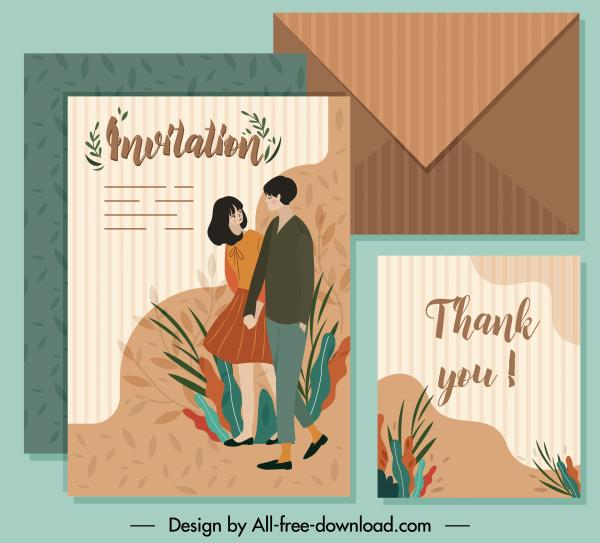 Invitation Card Template Couple Sketch Colored Classic