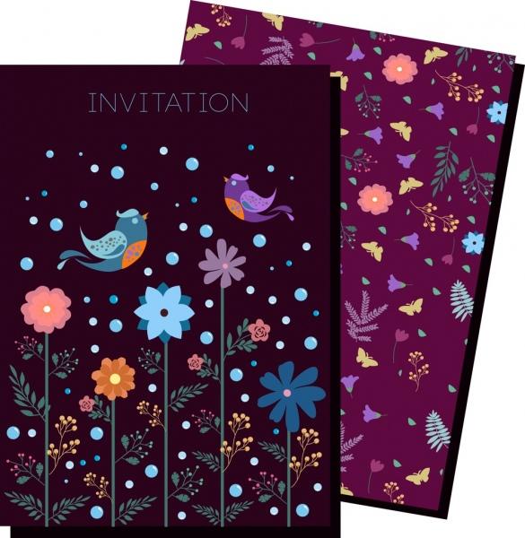 invitation card template dark violet flowers birds ornament