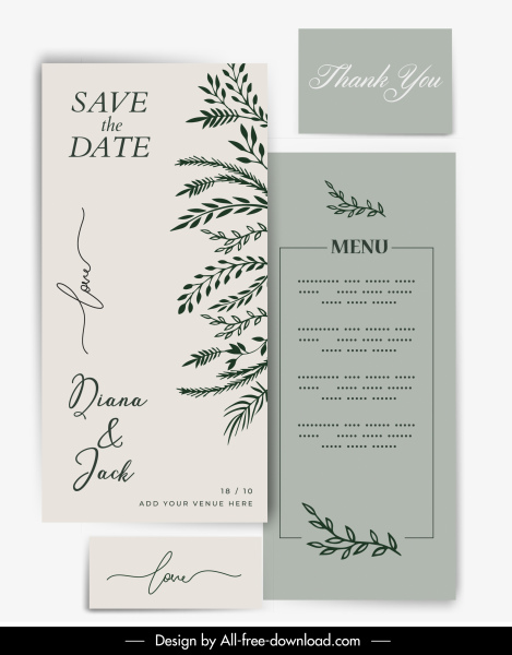 invitation card template elegant classical leaves sketch
