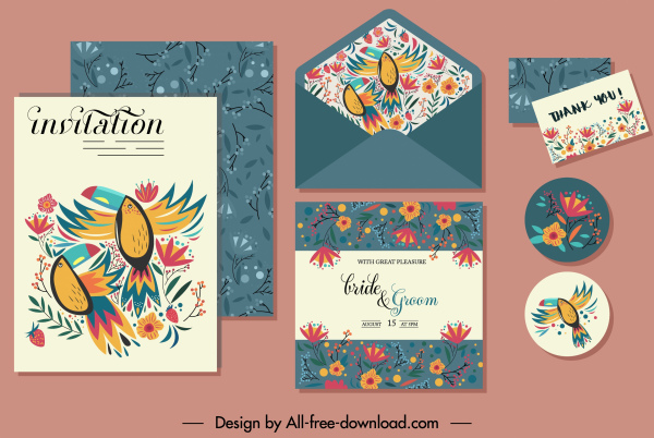 Invitation Card Template Natural Birds Flowers Sketch Free