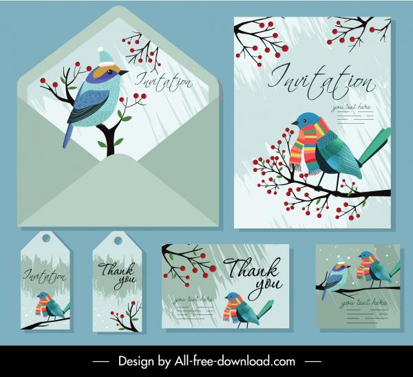 invitation card templates natural bird tree decor