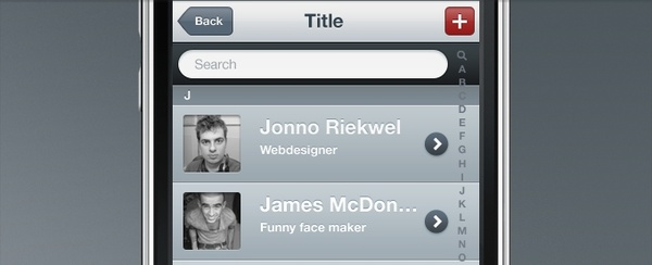 iPhone Contact List PSD