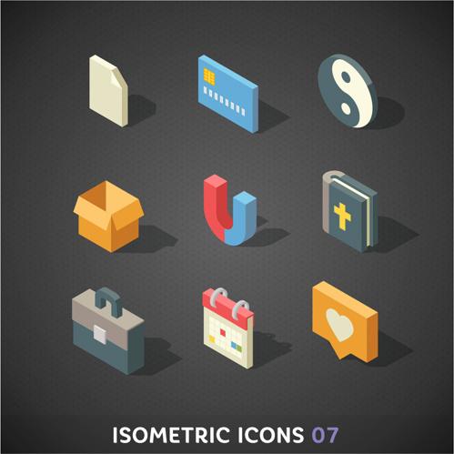 isometric icons flat vector design