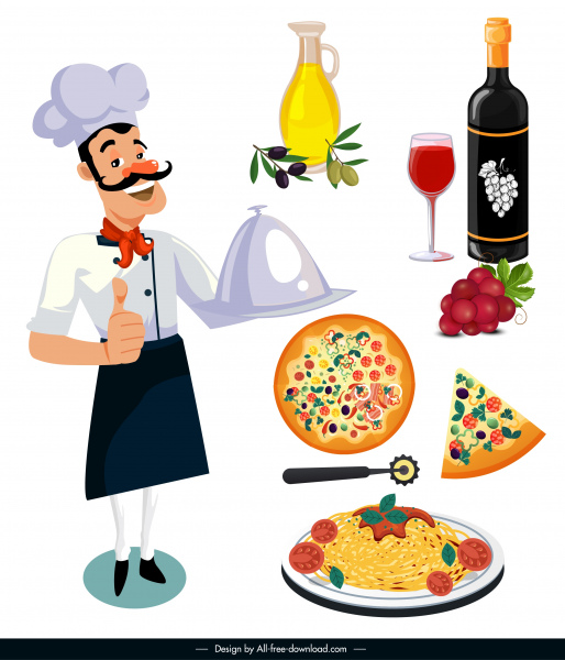 italy design elements chef food icons sketch