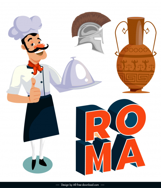 italy design elements vintage objects chef sketch