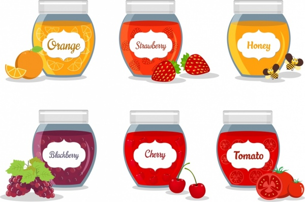 jam icons collection various fruit jar isolation