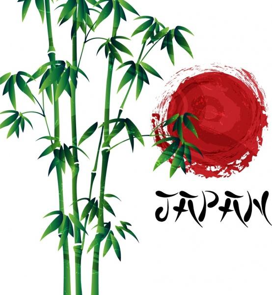 japan background green bamboo sun icon grunge design