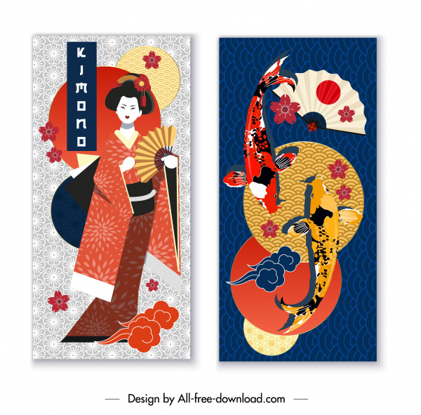 japan background templates colorful traditional emblems decor