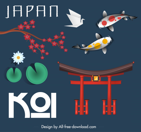 japan design elements classical national symbols sketch