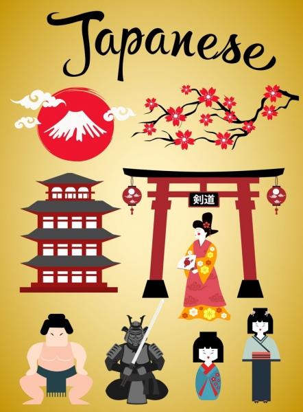 japan design elements various traditional costumes symbols design