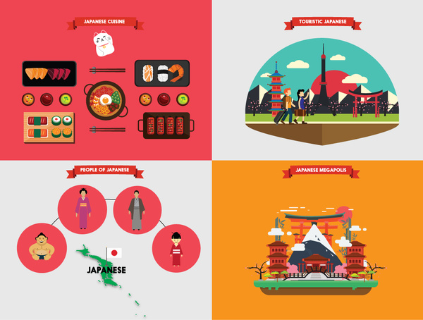 japan tourism poster vector illustration with various fields