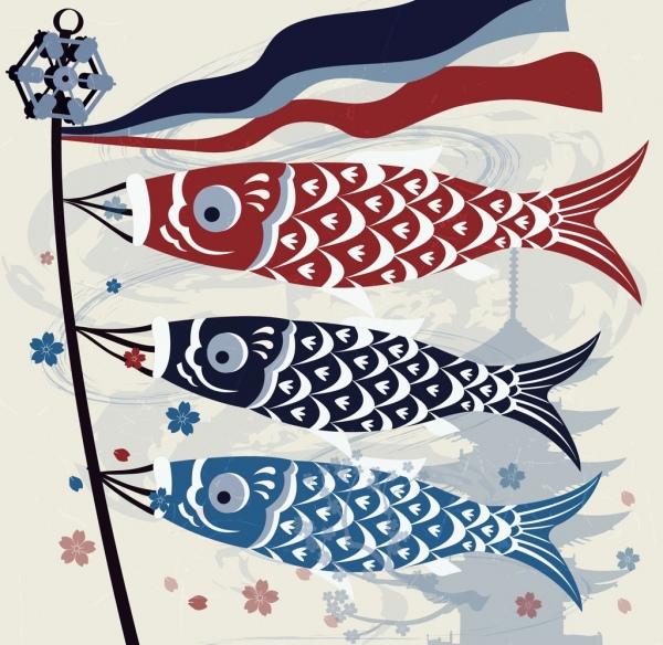 japan traditional background carp lantern icons multicolored design
