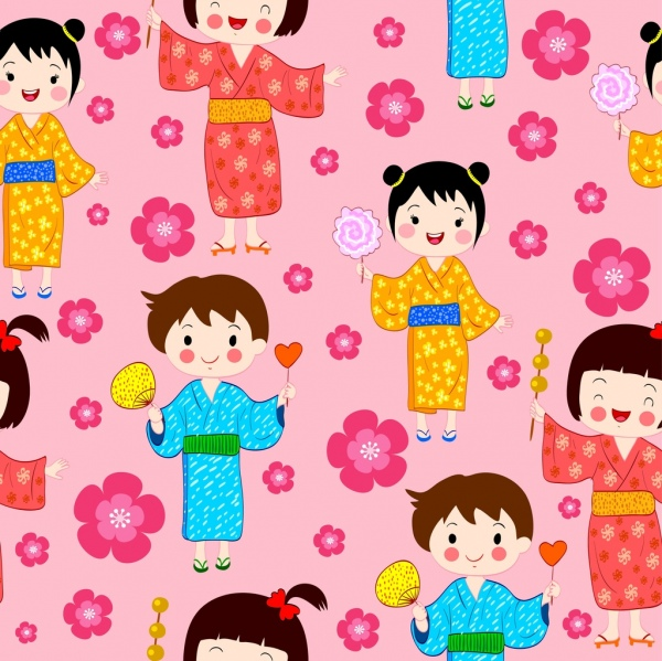japanese background traditional boy girl icons repeating design