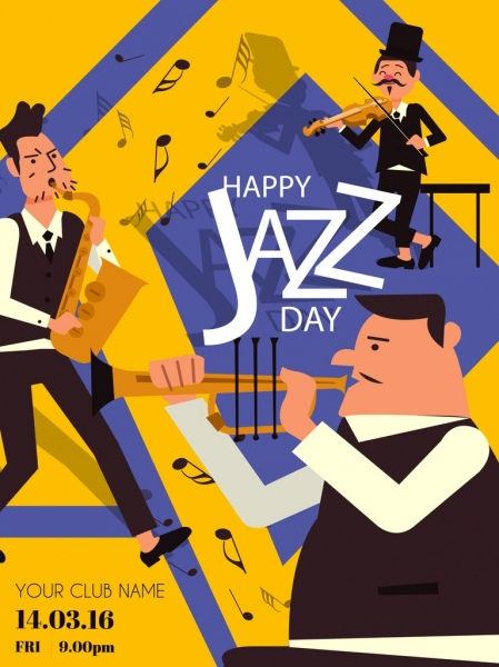 jazz festival banner male band instruments icons decor