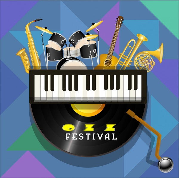 jazz festival poster illustration with musical instruments