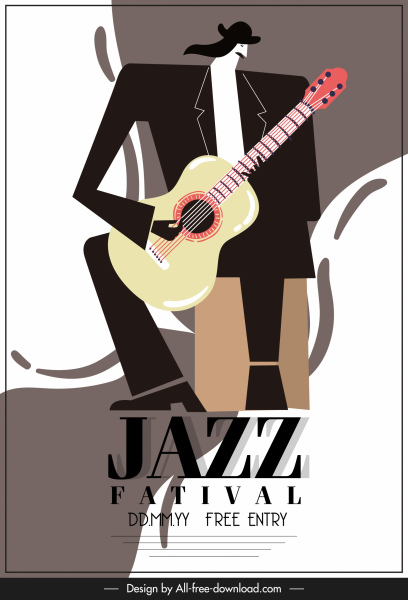 jazz festival poster retro classic design guitarist sketch
