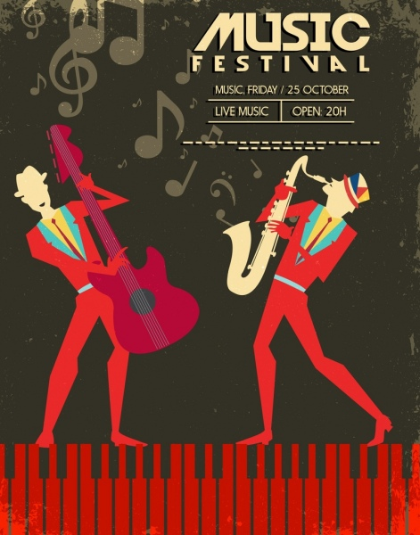 jazz music banner notes performers icons dark retro